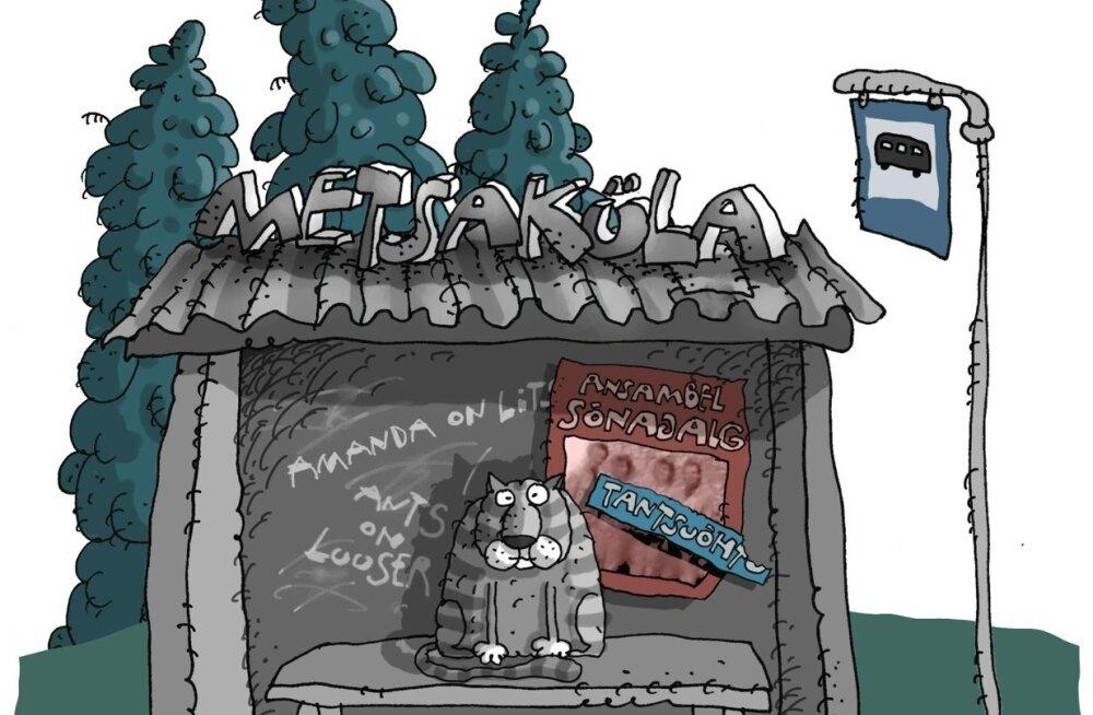 Karikatuur: üksik bussijaam metsakülas