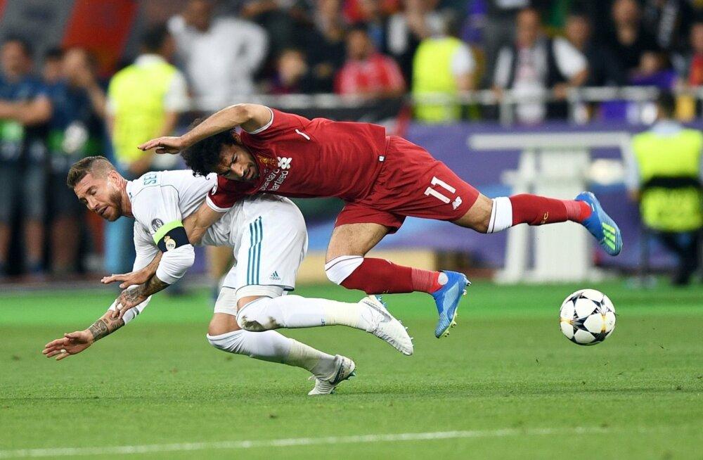 Sergio Ramos ja Mo Salah Meistrite liiga finaalis.