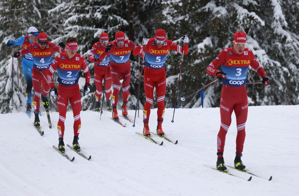 Venemaad ja punast olid Tour de Ski meeste võistluste esiots täis.