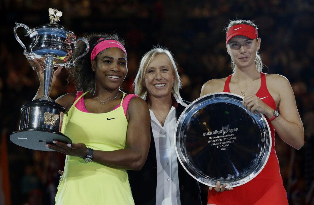 Martina Navratilova koos Serena Williamsi ja Maria Šarapovaga