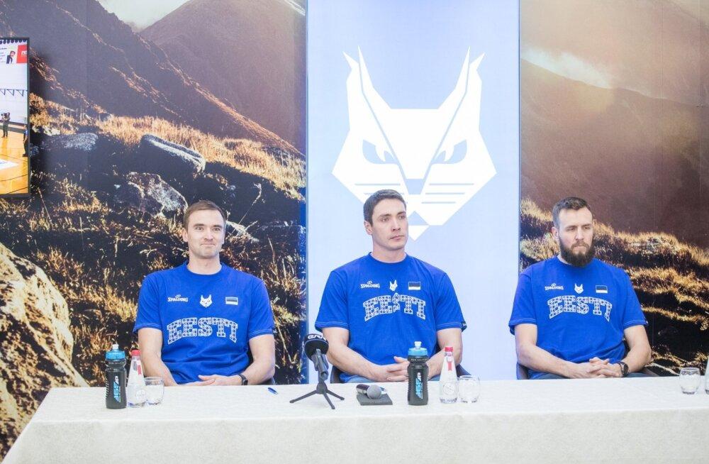 Eesti korvpallikoondise kolm tugitala (vasakult) Gregor Arbet, Kristjan Kangur ja Janar Talts annavad 21. veebruaril lahkumisetenduse.