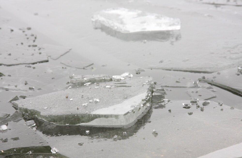В Пирита ходившие по льду женщина и ребенок оказались в опасности