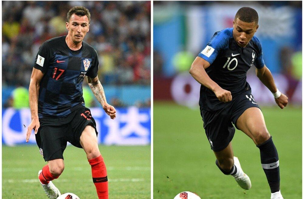 Horvaatia loodab rünnakul Mario Mandžukicile, Prantsusmaa aga Kylian Mbappele.