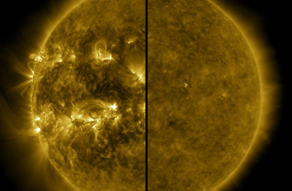 Päike 2014. aasta aprillis ja 2019. aasta detsembris.