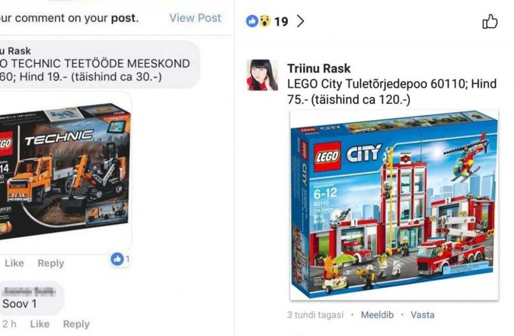 Triinu Rask müüs Lego tooteid täishinnast oluliselt odavamalt.