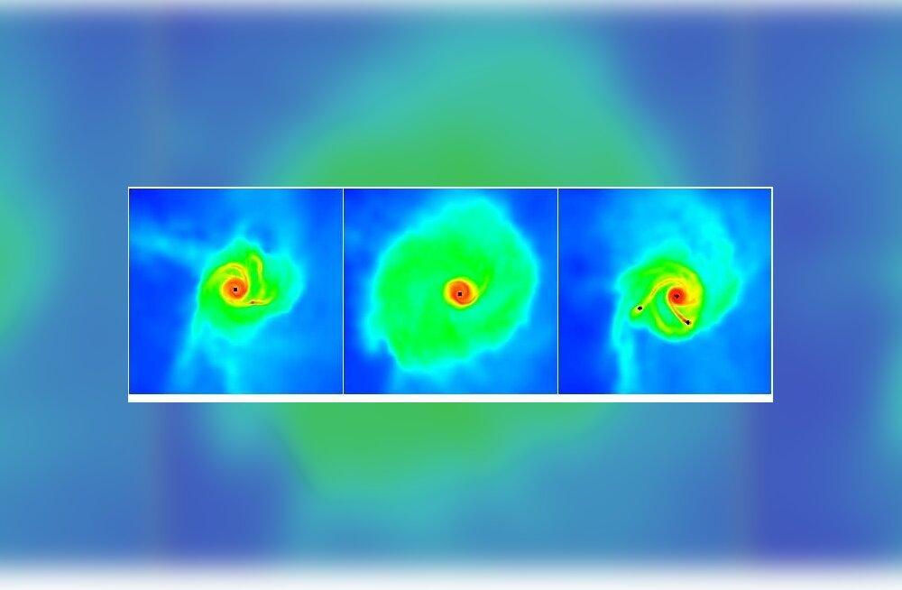 Kolm pilti, millel on näha noore tähe ümber olev ketas tähe elu varaste aastate mitmetes etappides