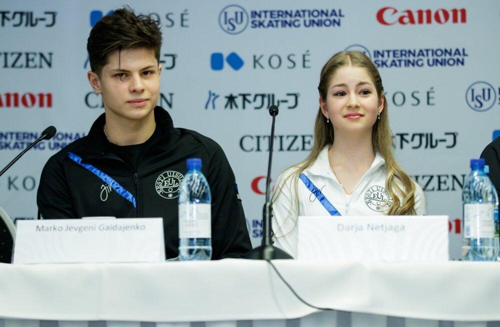 Juunioride iluuisutamise MM-i pressikonverents,  Darja Netjaga ja Marko Jevgeni Gaidajenko