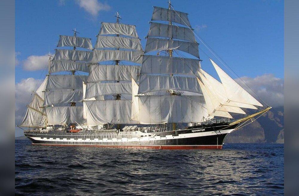"""Legendaarne purjelaev """"Krusenstern"""" naaseb Tallinna Merepäevadeks Eestisse"""