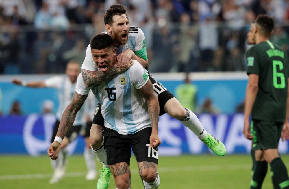 Argentina kangelased  Marcos Rojo ja Lionel Messi
