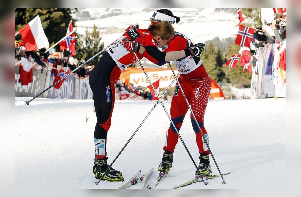 Kurnatud sportlased Tour de Ski finišis, suusatamine