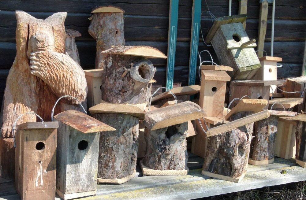 Päevakohaseid puidutooteid. Pildil olevad on küll mõeldud tegija enda metsa panekuks, mitte müügiks.
