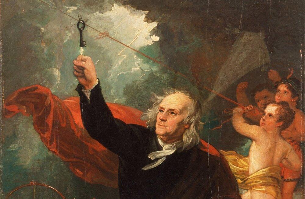 Benjamin Franklin võtab taevast elektrit. Detail Benjamin Westi 1816. a maalist, mis asub Philadelphia Kunstimuuseumis.