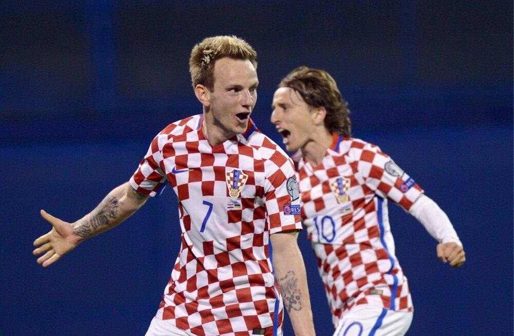 Horvaatia koondise ässad Ivan Rakitic (vasakul) ja Luka Modric.