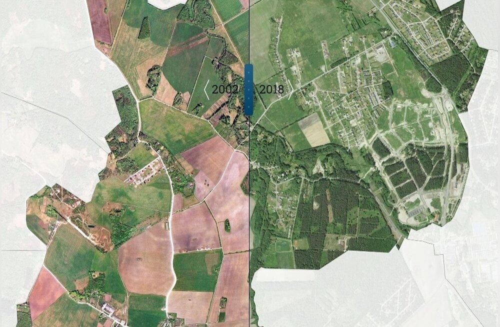 Alliku küla 2002. ja 2018 aastal.