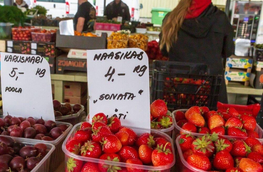 Pärnu turule tulid sel hooajal esimest korda võluväel müügile Läti maasikad, mis asendasid senised kodumaised marjad.