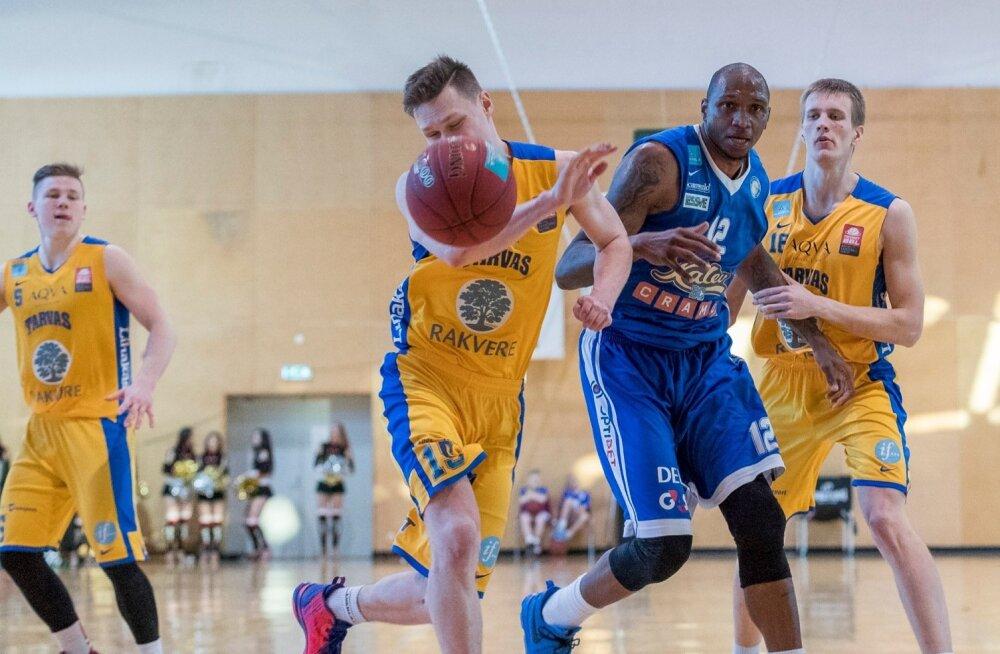 Tallinna Kalev/Cramo alistas Keila Tervisekeskuses Rakvere Tarvas/Palmse Metalli 104:65 ja lõpetas play-offi avaringi seeria 3:0 võiduga.