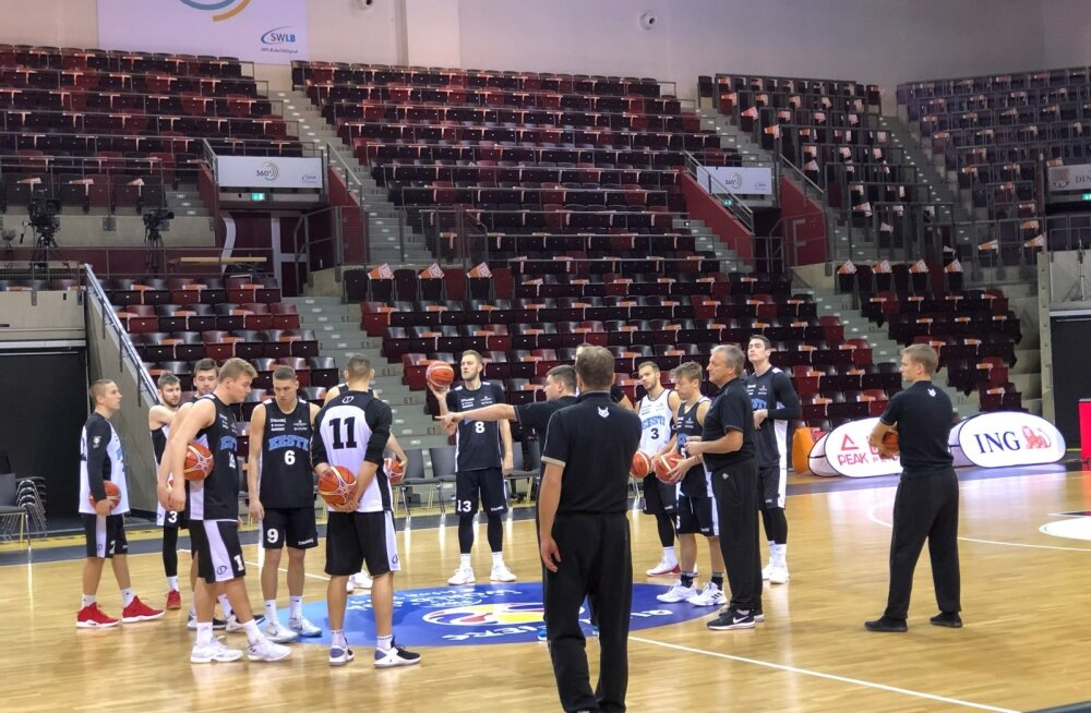 Eesti korvpallikoondise treening Ludwigsburgis.