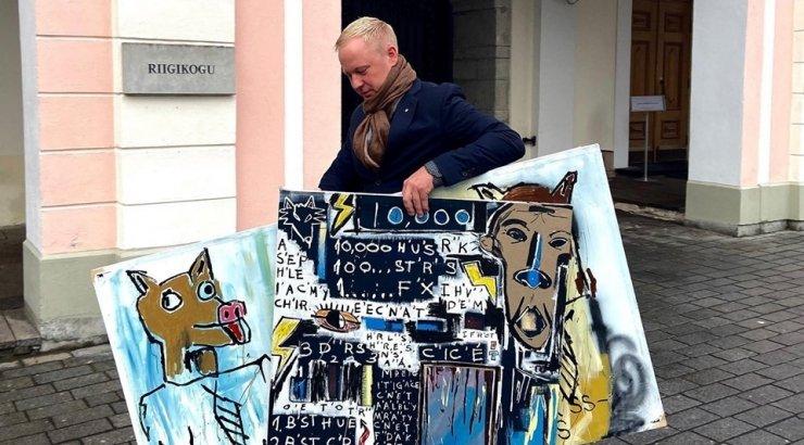 FOTOD | Rae vallast riigikokku suundunud Mart Võrklaev võttis Toompeale kaasa kohaliku noorkunstniku loomingu