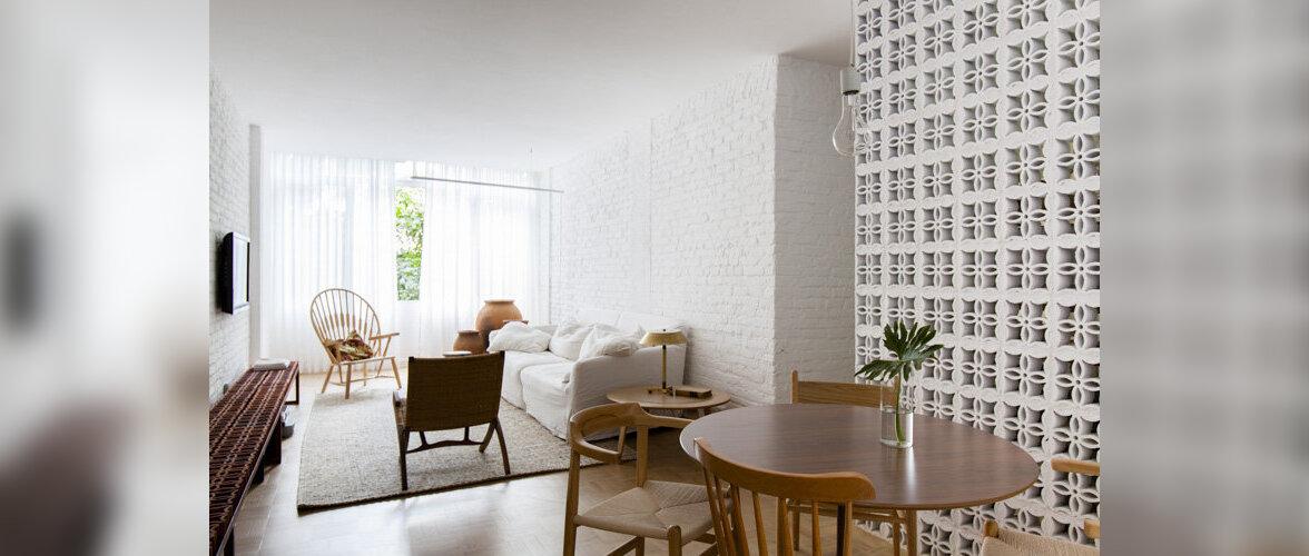 Renoveeritud korter, kus loob naiseliku ilme pitsiline tellis