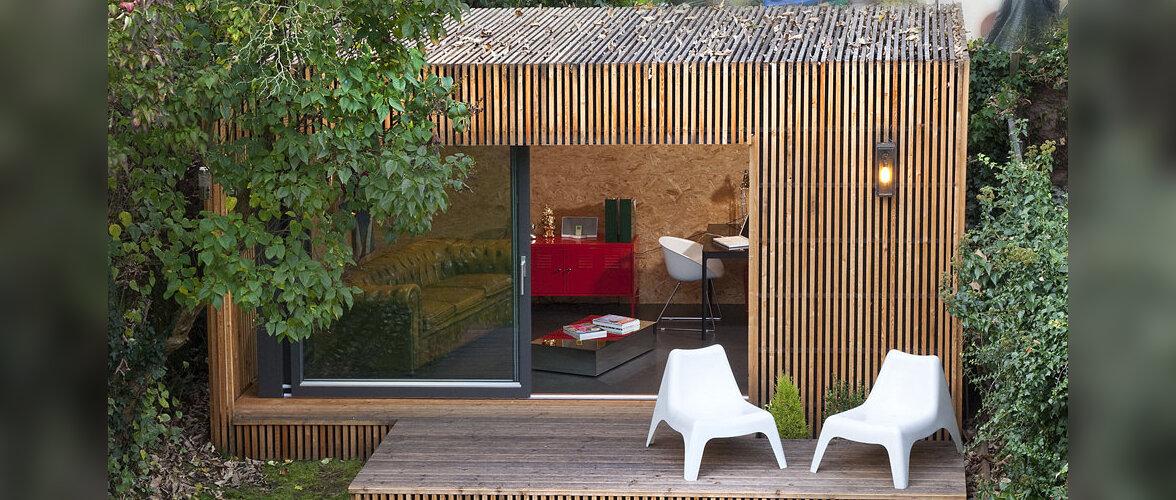 Kaasaegne aiamaja, mis sobib nii kodukontoriks kui ka koduks külalistele
