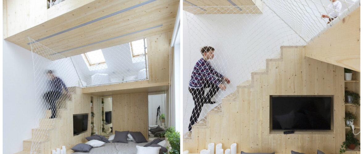 Mansardkorrusele ehitatud huvitav kooslus — vanemate magamistuba ja laste mängutuba