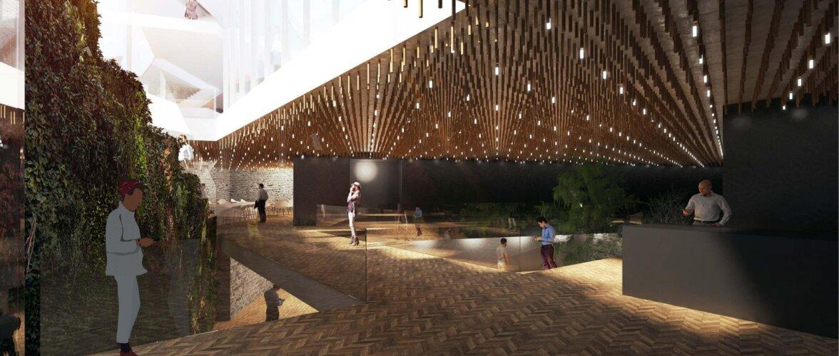 Selgus Linnateatri uue maja ja sisehoovi arhitektuuriline ideekavand