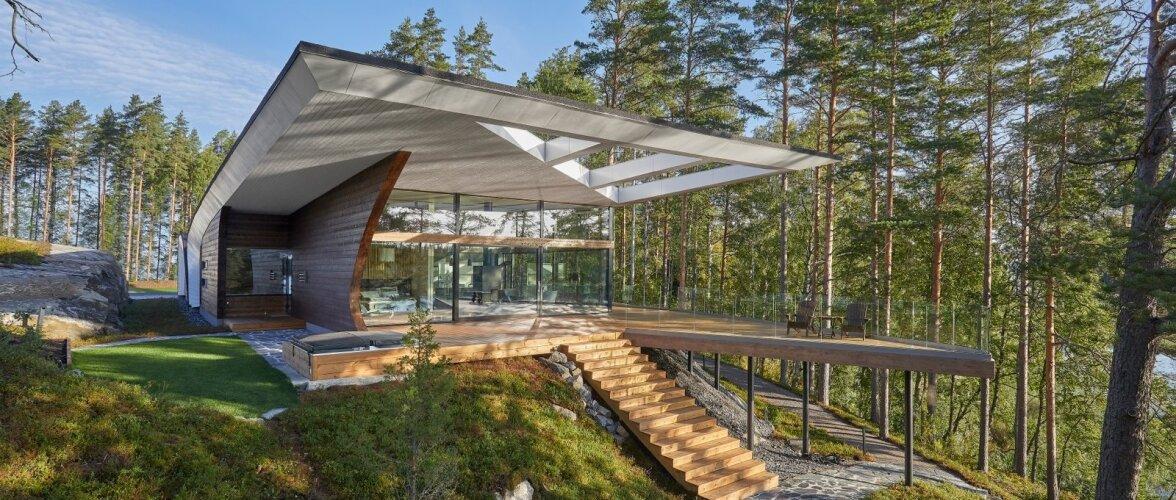 Unikaalne palkidest ehitatud moodne kodu Saimaa rannal
