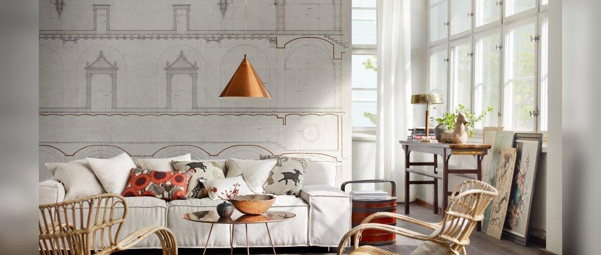 10 nippi laheda elutoa loomiseks — kõnekas tapeet, maalitud või papist mööbel