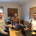 Mihkel Uiboleht, Rivo Vesik ja Karl Rinaldo saate lindistusel.