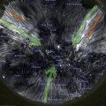 Selline näiks taevas Toronto kohal oktoobri alguses päikeseloojangu järel kagusse vaadates, kui inimsilm tabaks raadiolainesageduslikku kiirgust (pilt: Stellarium / J. West)