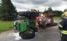 FOTOD: Noore juhi roolitud traktor läks koos tonni taimekaitsevahendiga kraavi ümber