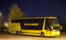 Пассажирка Ecolines: нетрезвый водитель автобуса при выезде с автовокзала в Пярну наехал на бордюр