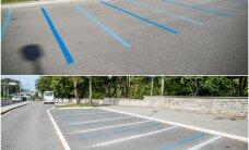 DELFI FOTOD: Linnavalitsus parkimisjoonte absurdist: pilt on tehtud enne märgistustööde lõpetamist, nüüd on tööd lõpetatud