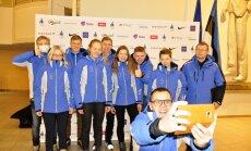 Lillehammer 2016 koondise suusaalade sportlased Tallinna lennujaamas