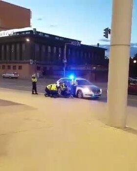 VIDEO JA FOTOD: Politsei võttis suurte jõududega kinni poest pitsat ja Vana Tallinna likööri varastanud mehe