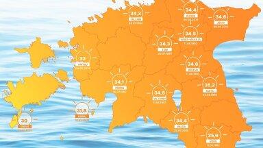 КАРТА   Смотрите, когда и где были самые жаркие дни в истории Эстонии. Будут ли сегодня побиты температурные рекорды?