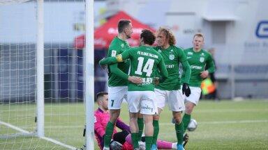 FC Flora (rohelises) suutis Nõmme Kalju üle mängida.