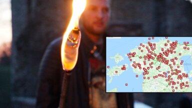 KAART | Jüriöö märgutuled kihutavad motikail Paidest üle kogu Eestimaa laiali, tuli süüdatakse üle 400 paigas