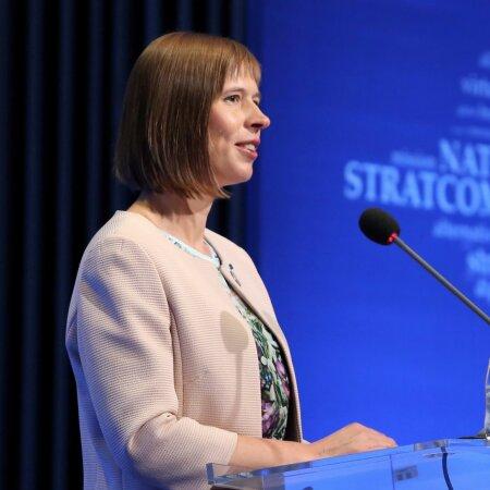 NATO strateegilise kommunikatsiooni kompetentsikeskuse olulisust on alati rõhutanud ka Kersti Kaljulaid. Pildid kõneleb president keskuse 2017. aastal korraldatud konverentsil.
