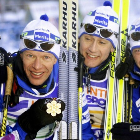 Soome suusatajad Janne Immonen, Harri Kirvesniemi, Sami Repo and Mika Myllyä Lahti MMil