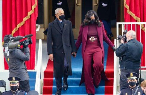 FOTOD | Michelle Obama stiilivalik ei valmistanud fännidele pettumust. Glamuurne kostüüm on tumedanahalise disaineri looming