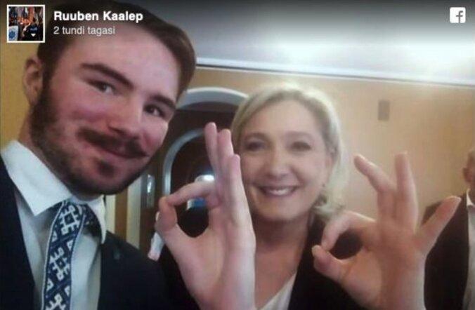 Ruuben Kaalepi praeguseks eemaldatud Facebooki-postitus endast Marine Le Peniga.