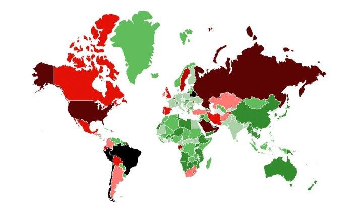 SUUR GRAAFIK | Millistes riikides on koroonaviirus kontrolli all ehk kust Eestisse tulles pole karantiin vajalik?