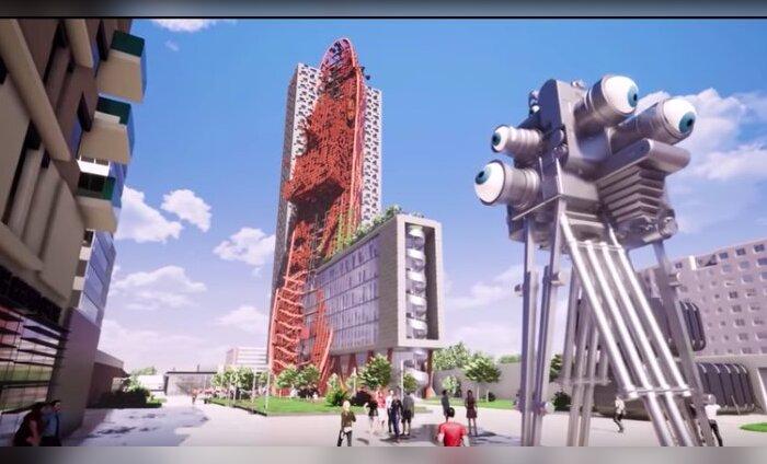 """ФОТО и ВИДЕО: В Праге хотят построить необычный небоскреб с """"врезавшимся"""" в него кораблем"""