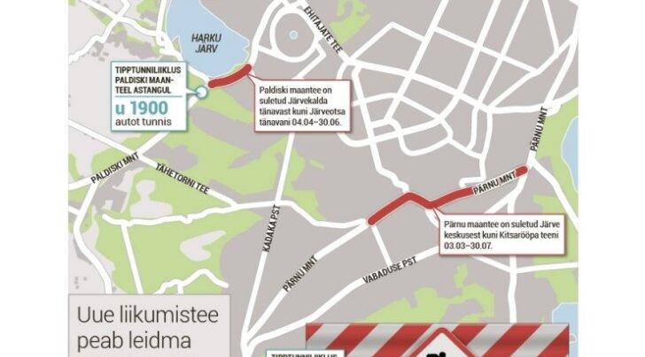 Paldiski maantee remont surub iga päev uut teed otsima kuni 2000 autot