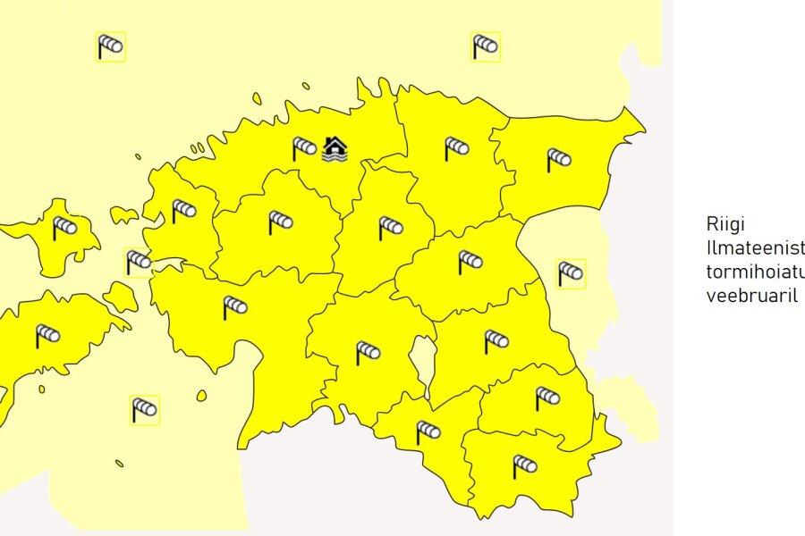 Riigi ilmateenistuse tormihoiatuse kaart 23.02.2020.