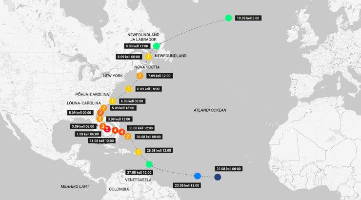 GRAAFIKA | Vaata, kuhu ja kuidas liikus orkaan Dorian