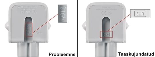 Apple kodulehelt leitavate adapterite fotod