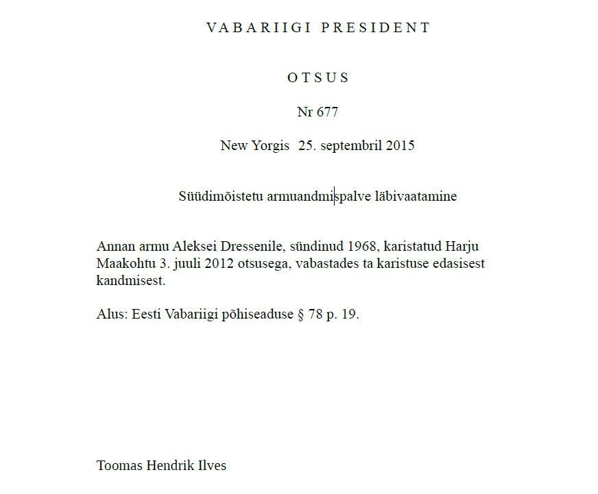 Aleksei Dresseni armuandmispalve läbivaatamine