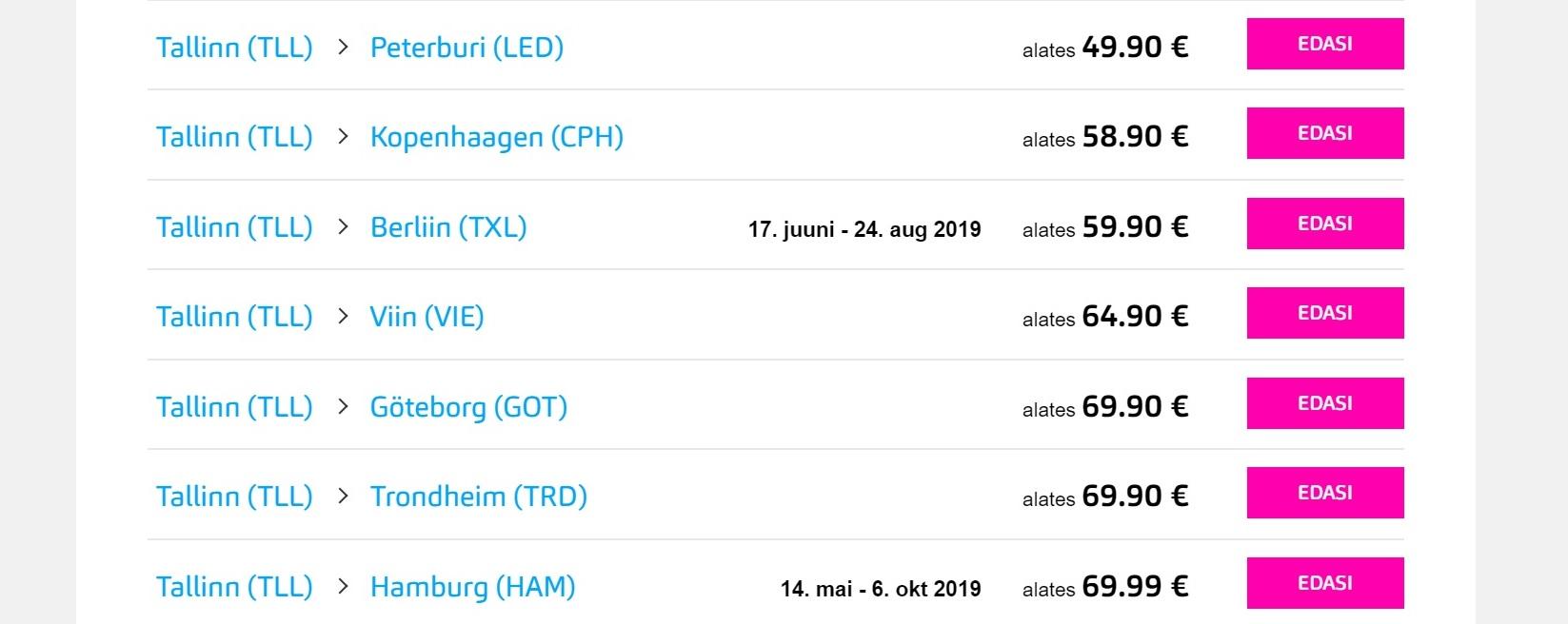 Nordica suvesihtkohad, mida tegelikult 2019. aastal ei tule.